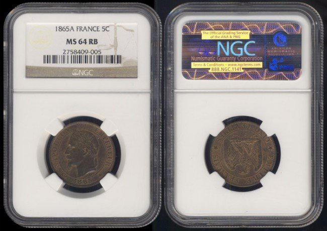 137: France 5 Centimes 1865A NGC MS64RB