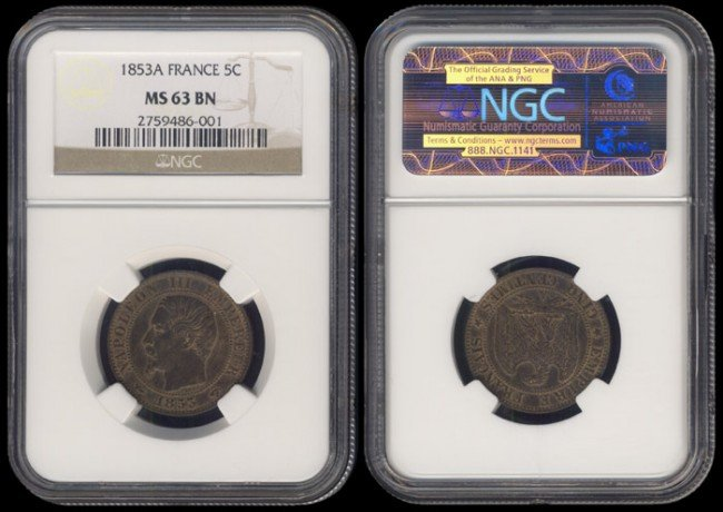 138: France 5 Centimes 1853A NGC MS63BN