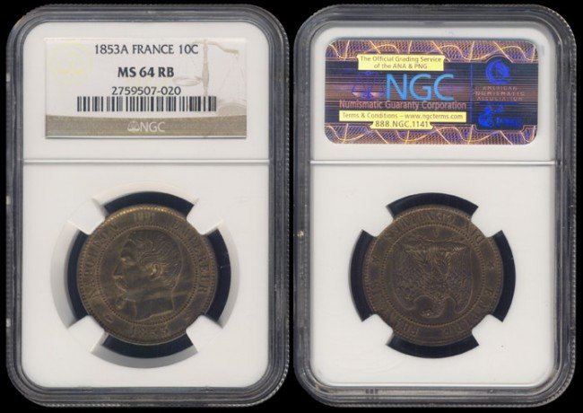 139: France 10 Centimes 1853A NGC MS64RB