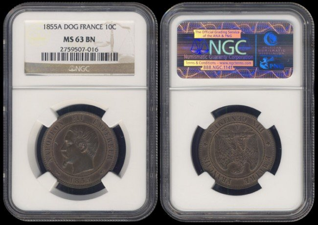 140: France 10 Centimes 1855A NGC MS63BN