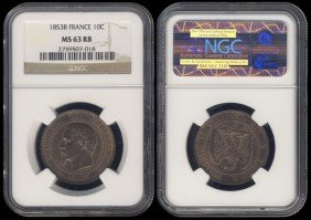 France 10 Centimes 1853B NGC MS63RB