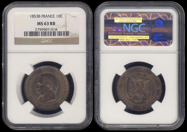 141: France 10 Centimes 1853B NGC MS63RB