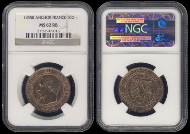142: France 10 Centimes 1855B NGC MS62RB
