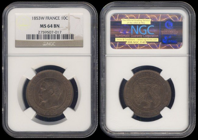 143: France 10 Centimes 1853W NGC MS64BN