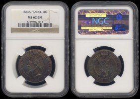 France 10 Centimes 1863A NGC MS62BN