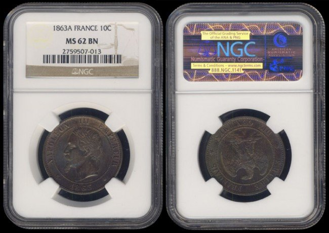 144: France 10 Centimes 1863A NGC MS62BN