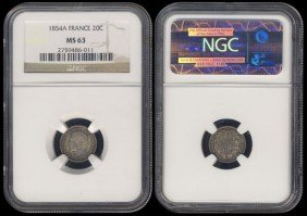 France 20 Centimes 1854A NGC MS63