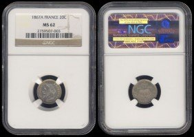 France 20 Centimes 1867A NGC MS62