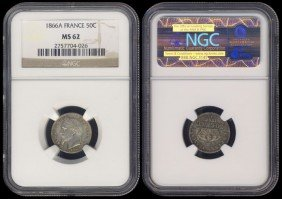 France 50 Centimes 1866A NGC MS62