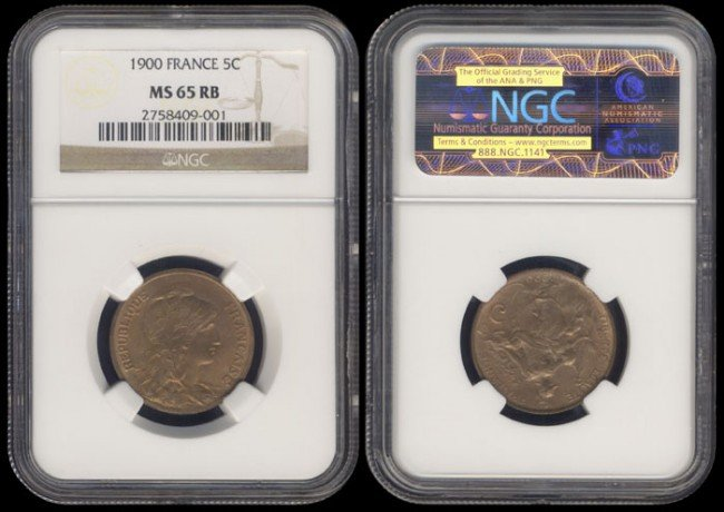 169: France 5 Centimes 1900 NGC MS65RB