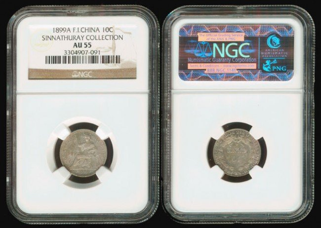 187: French Indo-China 10 Cents 1899A NGC AU55