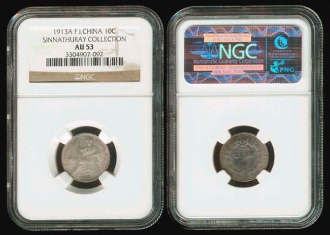 188: French Indo-China 10 Cents 1913A NGC AU53