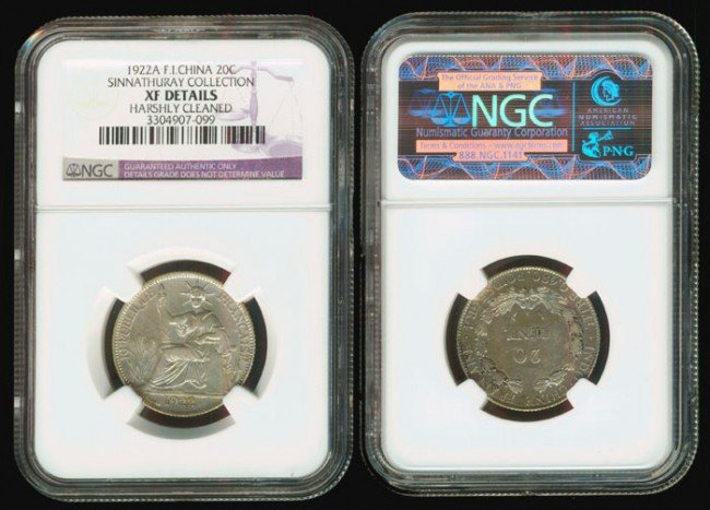 189: French Indo-China 20 Cents 1922A NGC XF