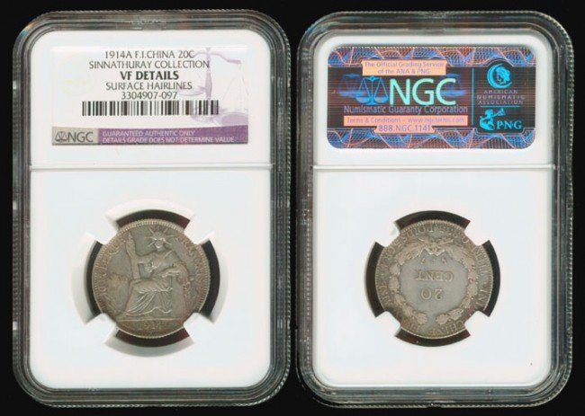 190: French Indo-China 20 Cents 1914A NGC VF