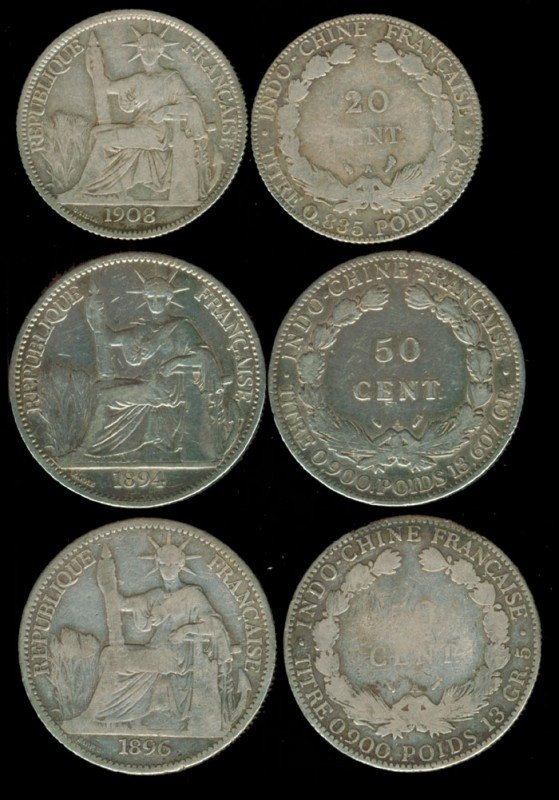 191: 7 French Indo-China 20c 50c 1885A-1922A