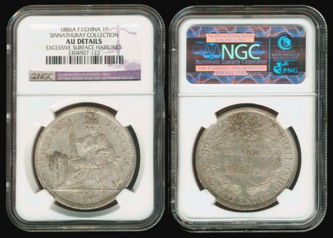 192: French Indo-China Piastre 1886A NGC AU