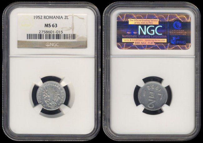 350: Romania 2 Lei 1952 NGC MS63