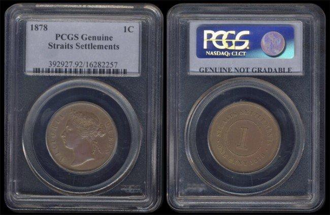 438: Straits Settlements QV 1c 1878 PCGS Genuine