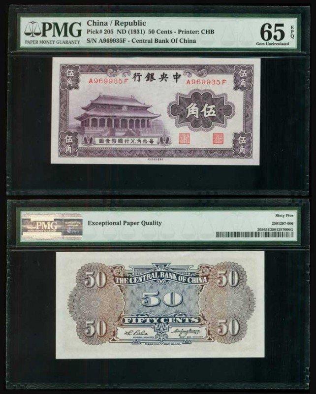 3: China Central Bank 50c 1931 P205 PMG 65EPQ