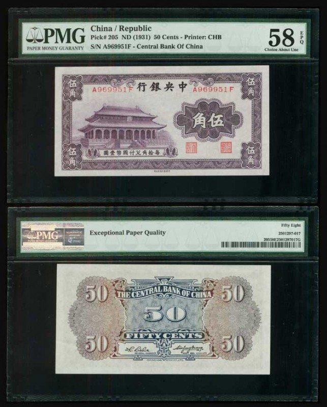 4: China Central Bank 50c 1931 P205 PMG 58EPQ