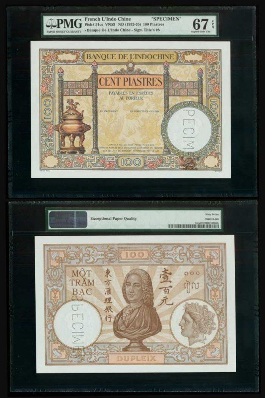 15: French Indo-China 100P 1932-35 PMG 67EPQ