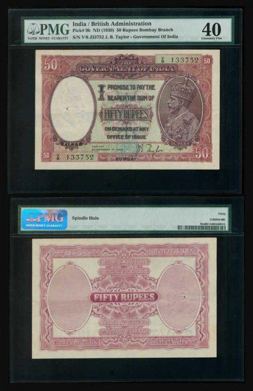 17: India 50 Rupees KGV 1930 P9b PMG XF40