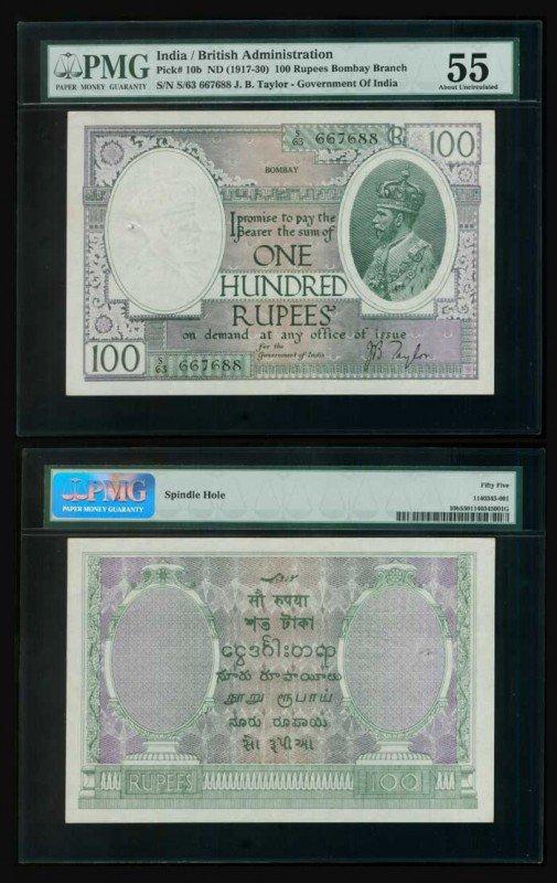 18: India 100 Rupees KGV 1917-30 P10b PMG AU55