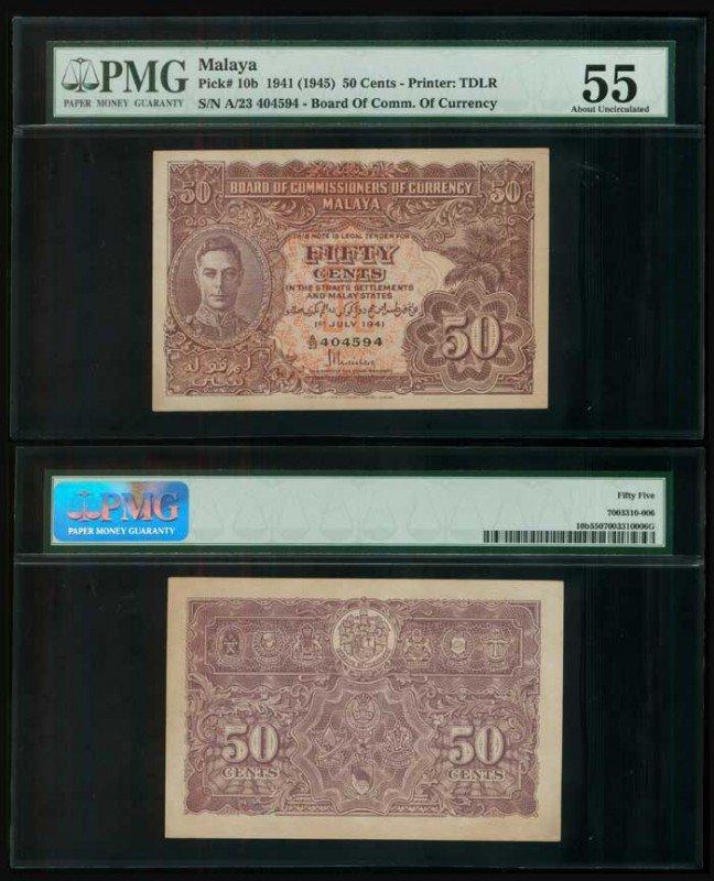 22: Malaya 50 Cents 1941 KGVI P10b PMG AU55