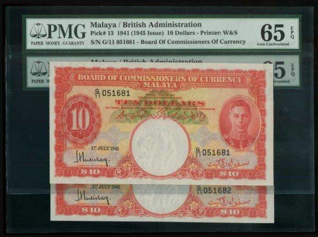 23: Malaya $10 KGVI P13 consec both UNC65EPQ