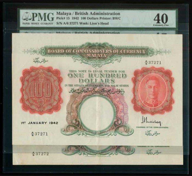 24: 2 Malaya $100 1942 KGVI P15 PMG XF40 XF45