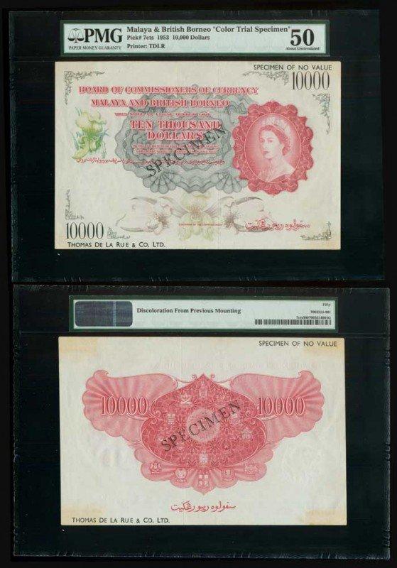 28: Malaya Br Borneo $10000 1953 QEII PMG 50