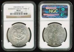 126: China Empire Kiangnan $1 1904 NGC MS61
