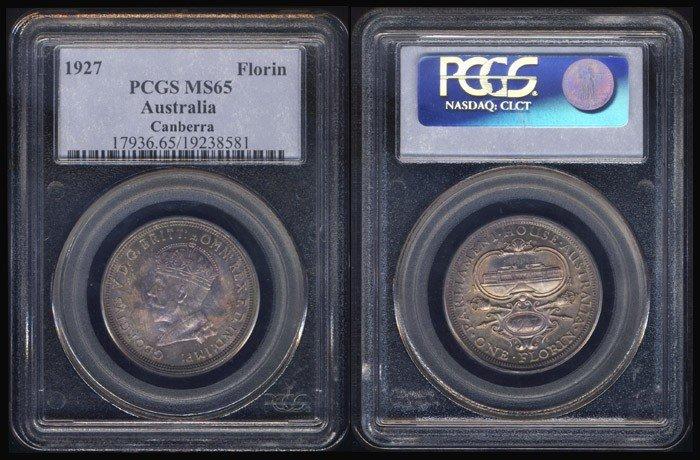 1: Australia KGV Florin 1927 PCGS MS65