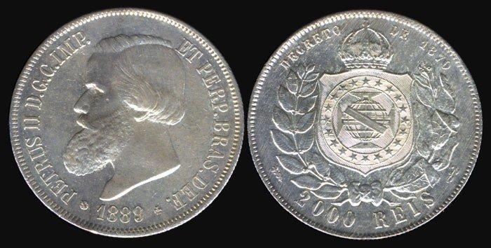 2: Brazil 2000 Reis 1889 EF