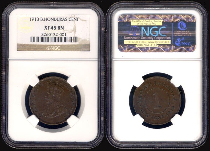 3: British Honduras KGV Cent 1913 NGC XF45BN