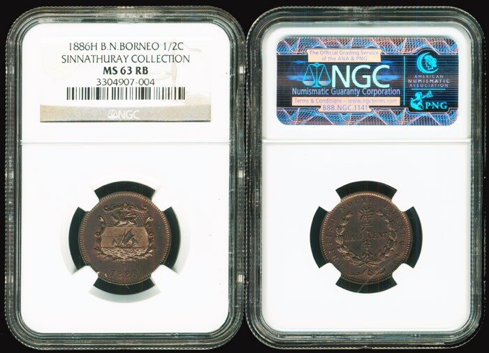 4: Br North Borneo 1/2c 1886H NGC MS63RB