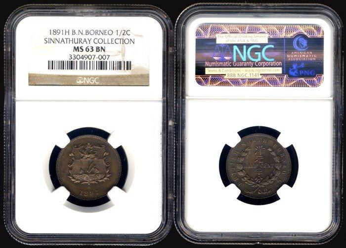 5: Br North Borneo 1/2c 1891H NGC MS63BN