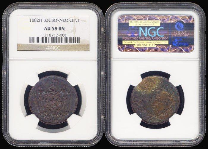 7: Br North Borneo 1c 1882H NGC AU58BN
