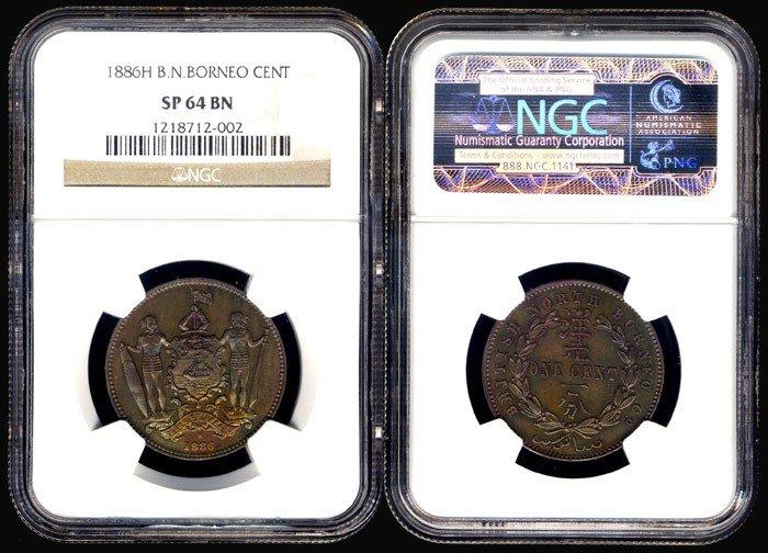 8: Br North Borneo 1c 1886H NGC SP64BN