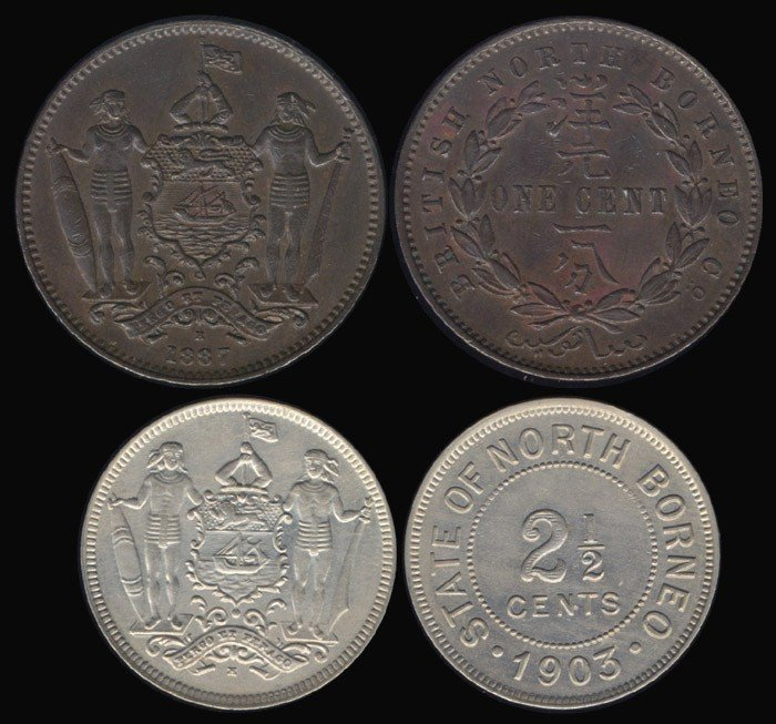 9: Br North Borneo 1c 1887H 2-1/2c 1903H EC (2)