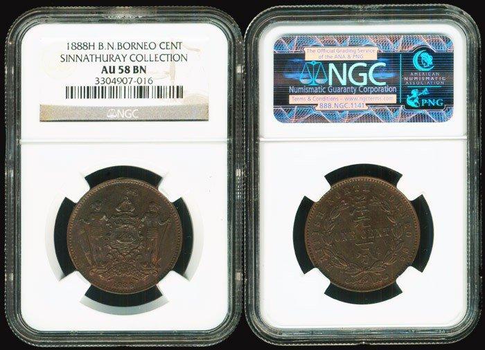 10: Br North Borneo 1c 1888H NGC AU58BN