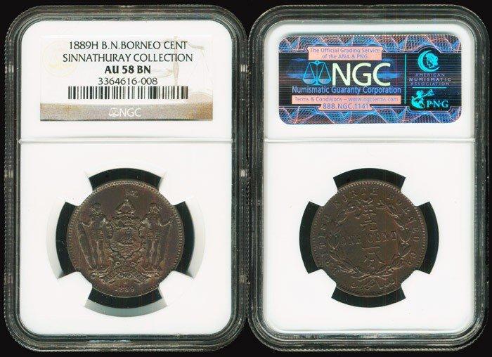 11: Br North Borneo 1c 1889H NGC AU58BN