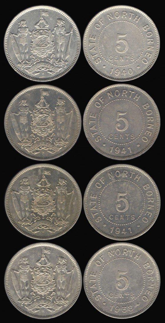 19: 4 Br North Borneo 5c 1938H-1941H
