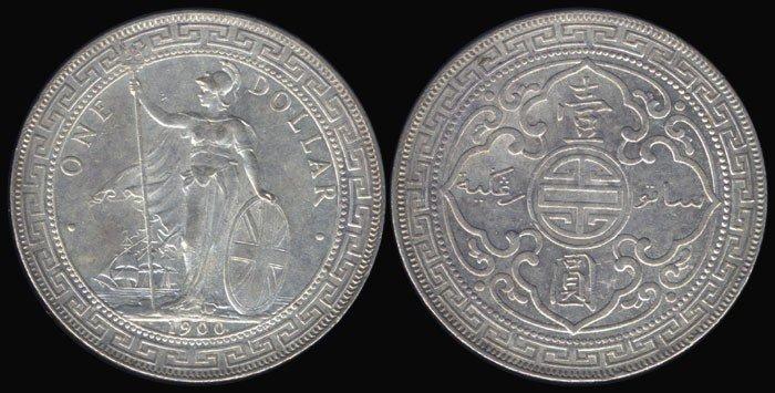 21: British Trade Dollars 1900B AU