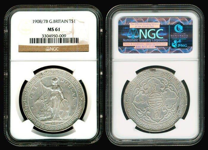 22: British Trade Dollars 1908/7B NGC MS61