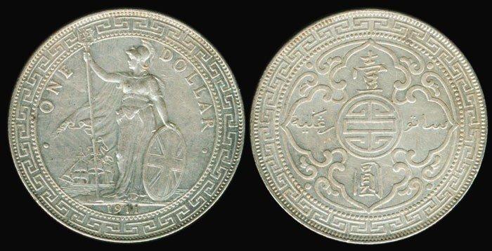 23: British Trade Dollars 1911B EF
