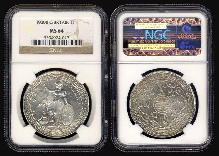 24: British Trade Dollars 1930B NGC MS64