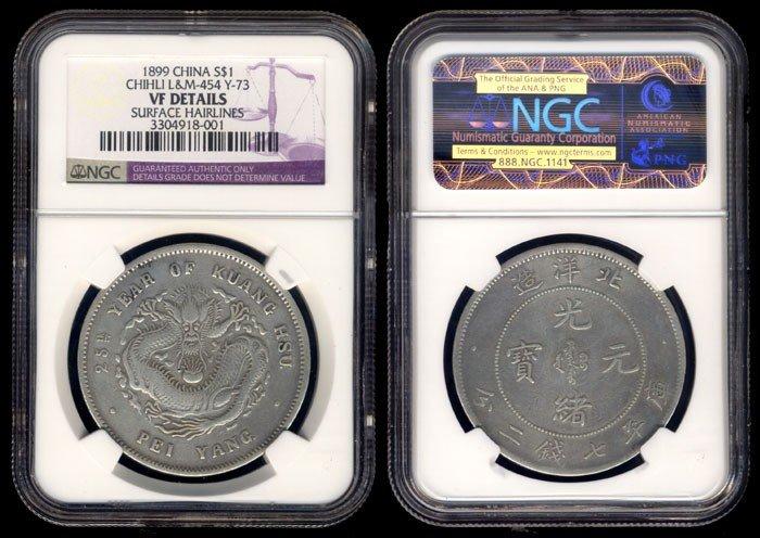 54: China Empire Chihli $1 1899 NGC VF detail