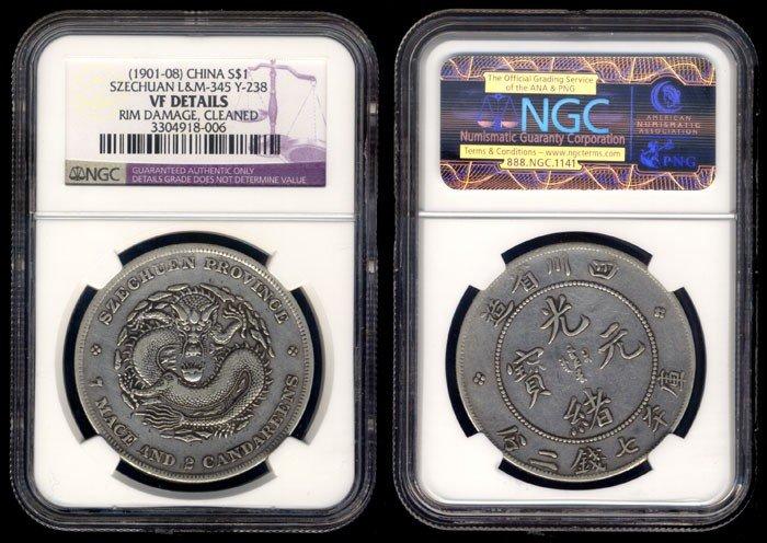 72: China Empire Szechuan $1 1901-08 NGC VF