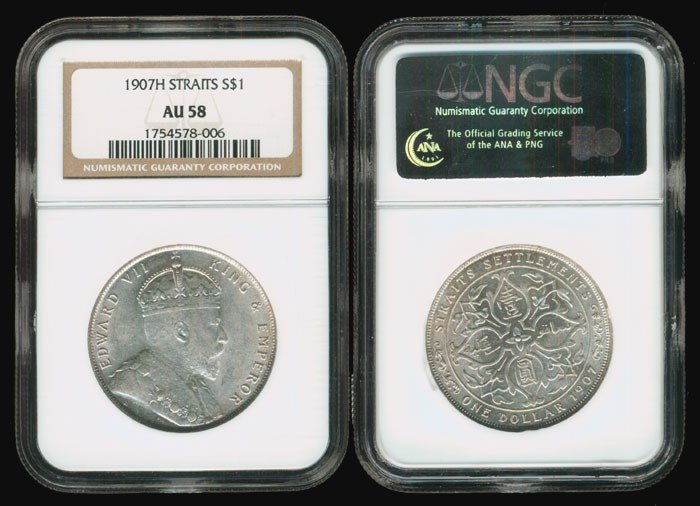 363: Straits Settlements KEVII $1 1907H NGC AU58